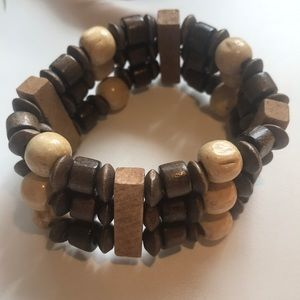 Wooden Beads Stretch Bracelet In Brown Tones 🐌🐌